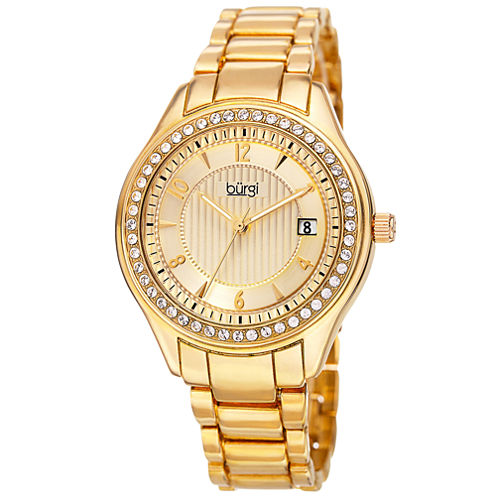 Burgi Womens Gold Tone Bracelet Watch-B-135yg