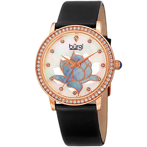 Burgi Womens Black Strap Watch-B-159bkr