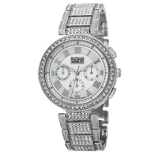 Burgi Womens Silver Tone Bracelet Watch-B-123ss