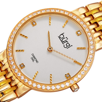 Burgi Womens Gold Tone Bracelet Watch-B-138yg