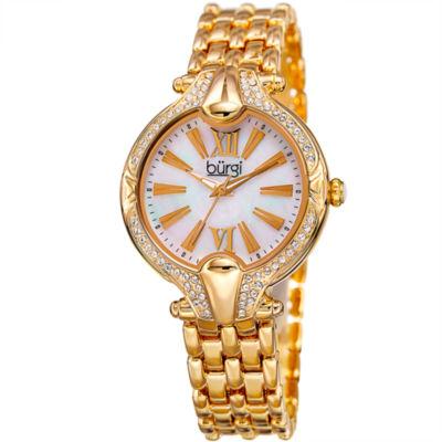 Burgi Womens Gold Tone Bracelet Watch-B-163yg