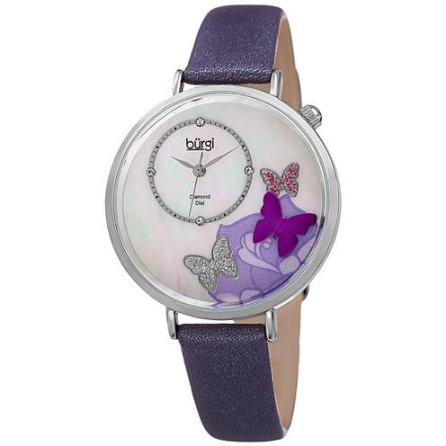 Burgi Womens Purple Strap Watch-B-158pu
