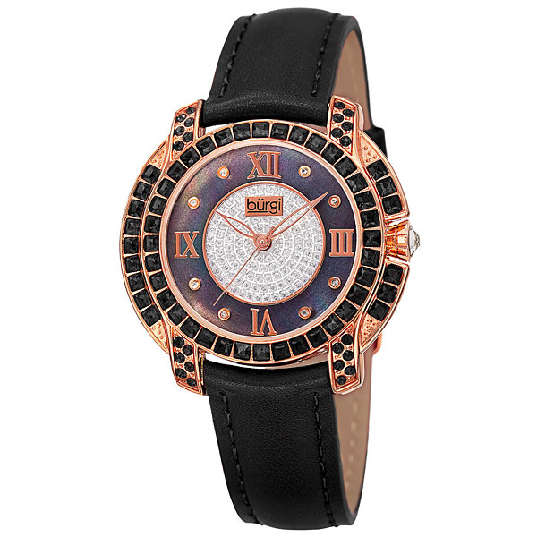 Burgi Womens Black Strap Watch-B-156bkr