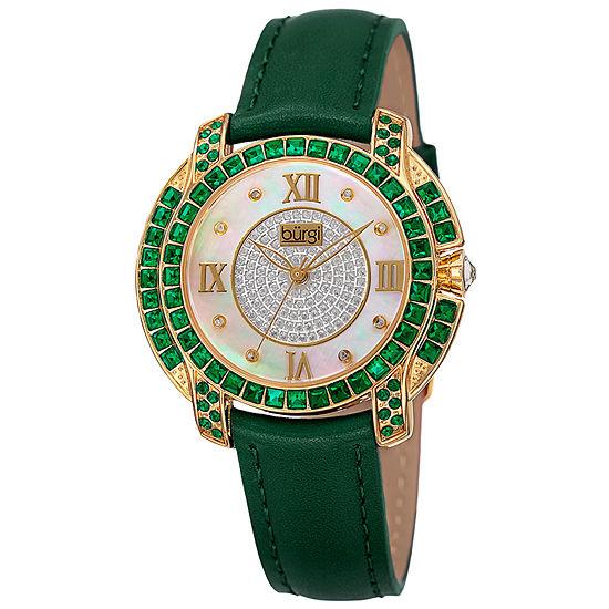 Burgi Set With Swarovski Crystals Womens Multi-Function Green Strap Watch-B-156gn