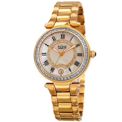 Burgi Womens Gold Tone Bracelet Watch-B-165yg