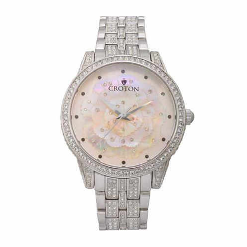 Croton Flower Womens Silver Tone Bracelet Watch-Cn207557rhmp