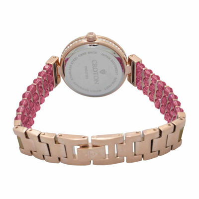 Croton Pink Swarovski Womens Pink 2-pc. Watch Boxed Set-Cn207563rgpk