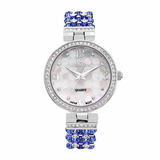 Croton Blue Swarovski Womens Blue Watch Boxed Set-Cn207563rhbl
