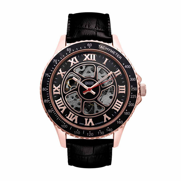 Croton Imperial Mens Black Strap Watch-Ci331094rgbk