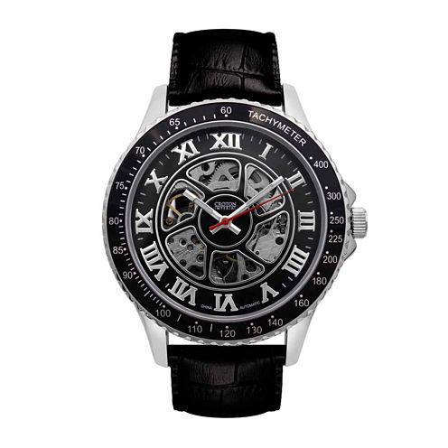 Croton Imperial Mens Black Strap Watch-Ci331094ssbk