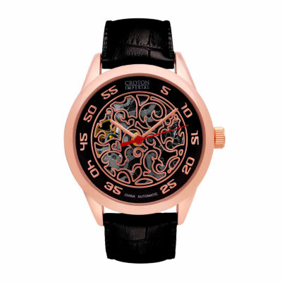 Croton Imperial Mens Black Strap Watch-Ci331095rgbk