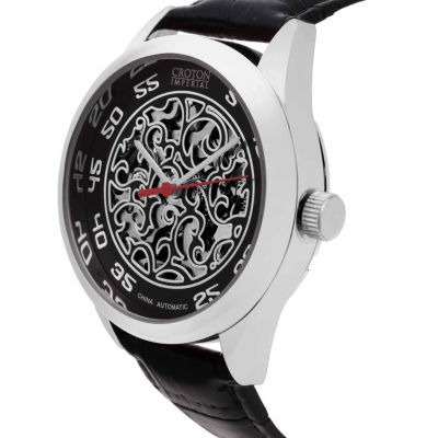 Croton Imperial Mens Black Strap Watch-Ci331095ssbk