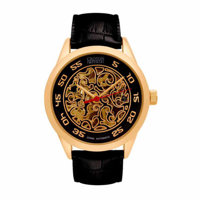 Croton Imperial Mens Black Strap Watch-Ci331095ygbk