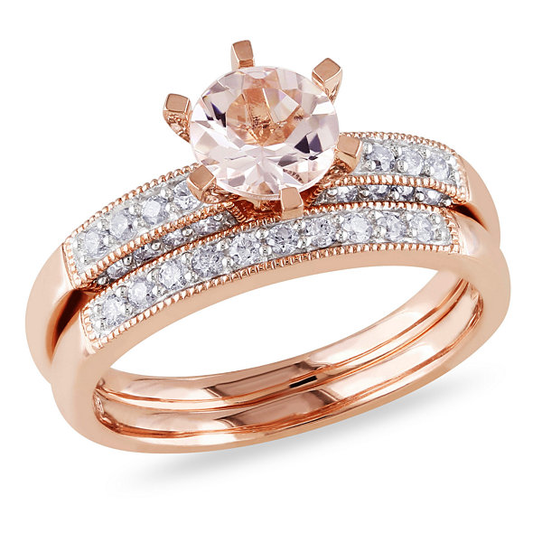 1/3 CT. T.W. Pink Morganite 10K Gold Bridal Set