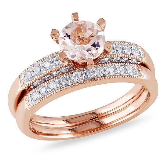 1/3 CT. T.W. Pink Morganite 10K Gold Bridal Set