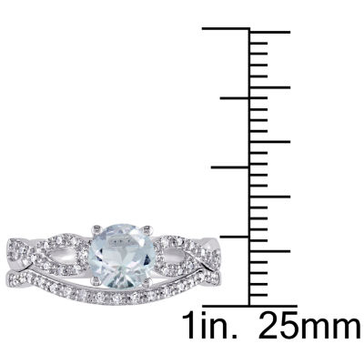 1/6 CT. T.W. Blue Aquamarine 10K Gold Bridal Set