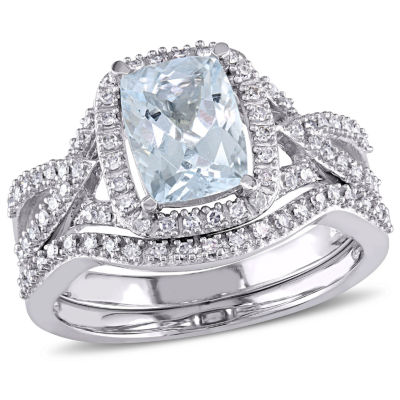1/4 CT. T.W. Blue Aquamarine 10K Gold Bridal Set