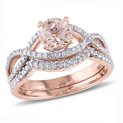 Womens 3/8 CT. T.W. Genuine Pink Morganite 14K Gold Bridal Set