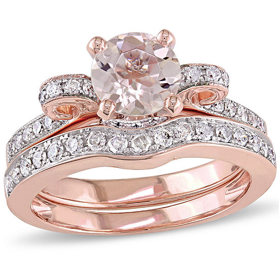 1/2 CT. T.W. Pink Morganite 14K Gold Bridal Set