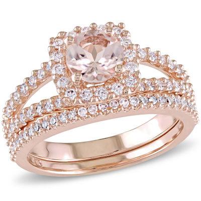 5/8 CT. T.W. Pink Morganite 14K Gold Bridal Set
