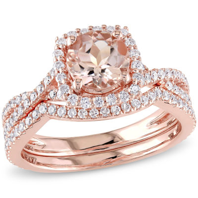 3/4 CT. T.W. Pink Morganite 14K Gold Bridal Set