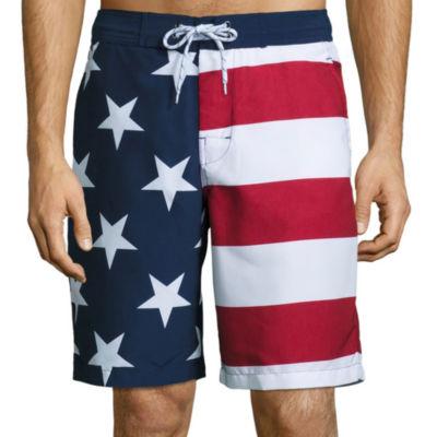 St. John's Bay® American Flag Print Swim Trunks
