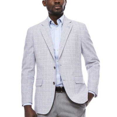 Stafford Linen Cotton Quiet Charcoal Plaid Sport Coat- Classic Fit