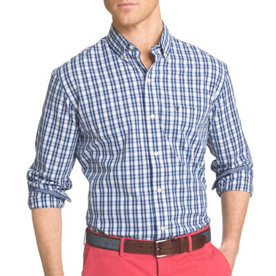 IZOD® Advantage Performance Stretch Slim Fit Long Sleeve Gingham Shirt
