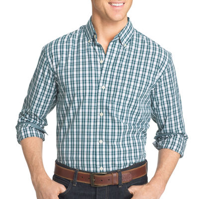 IZOD Advantage Performance Stretch Slim Fit Long Sleeve Gingham Shirt