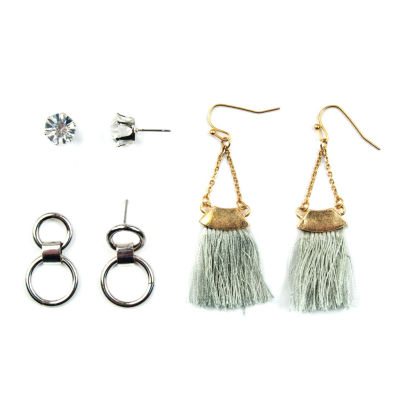 Arizona 3 Pair Clear Earring Sets