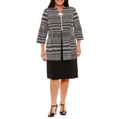 Perceptions Sleeveless Jacket Dress-Plus