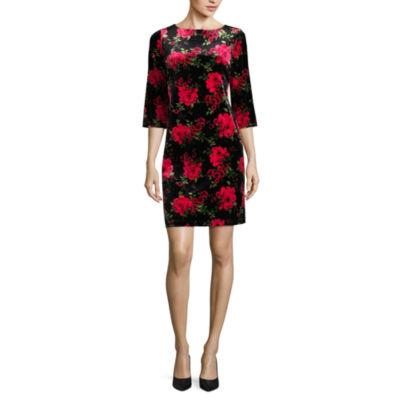 Ronni Nicole 3/4 Sleeve Floral Sheath Dress-Petites