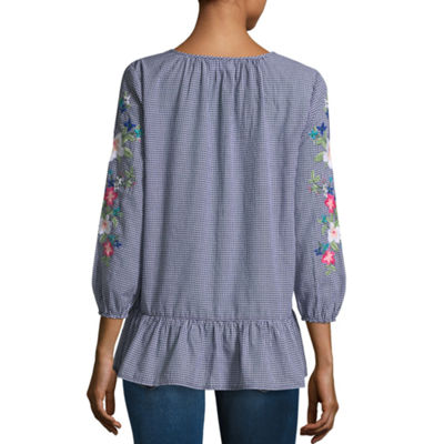 Liz Claiborne 3/4 Sleeve Split Crew Neck Blouse - Tall