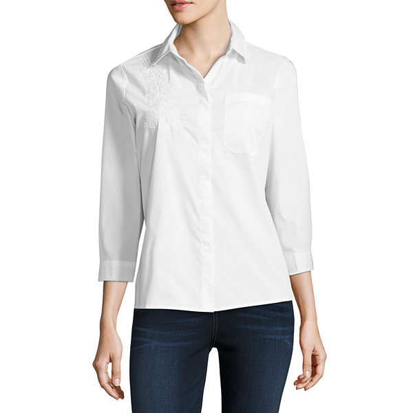 Liz Claiborne Long Sleeve Embroidered Shirt - Talls