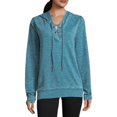 St. John's Bay Active Long Sleeve French Terry Hoodie Petites