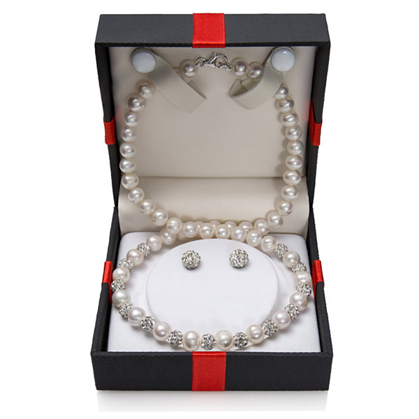2-pc. Cultured Freshwater Pearl Necklace and Earring Set in Sterling Silver