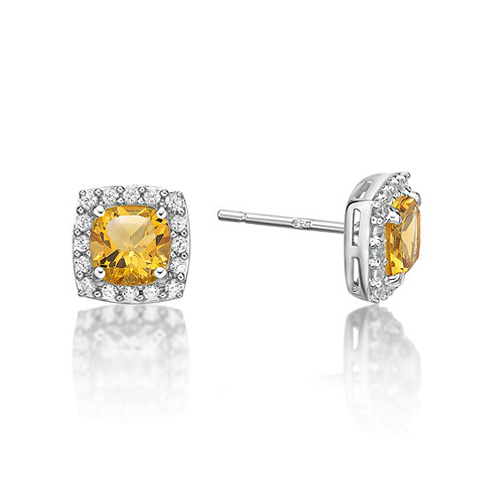 Genuine Yellow Citrine Sterling Silver Stud Earrings