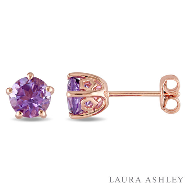 Laura Ashley Round Purple Amethyst 18K Gold Over Silver Stud Earrings