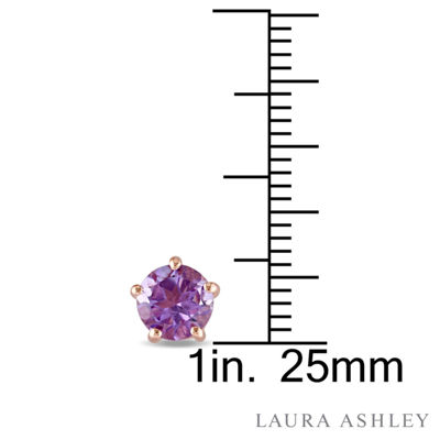 Laura Asley Genuine Purple Amethyst 18K Gold Over Silver 6.9mm Stud Earrings
