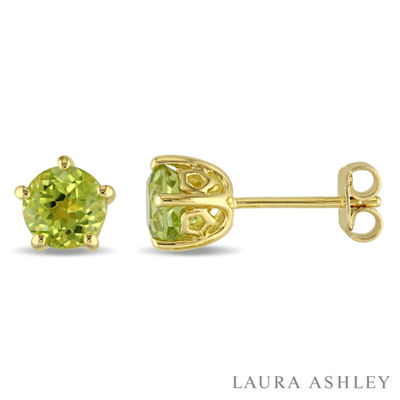 Laura Ashley Genuine Green Peridot 18K Gold Over Silver 6.9mm Stud Earrings