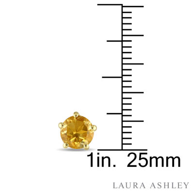 Laura Ashley Round Yellow Citrine 18K Gold Over Silver Stud Earrings