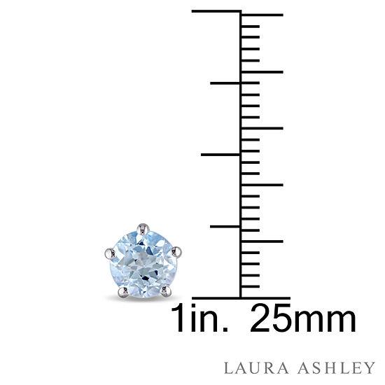 Laura Ashley Round Blue Topaz Sterling Silver Stud Earrings
