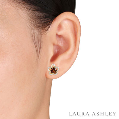 Laura Ashley Diamond Accent Round Red Garnet 10K Gold Stud Earrings