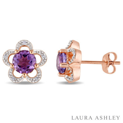 Laura Asley Diamond Accent Genuine Purple Amethyst 10K Gold Over Silver 10.9mm Stud Earrings