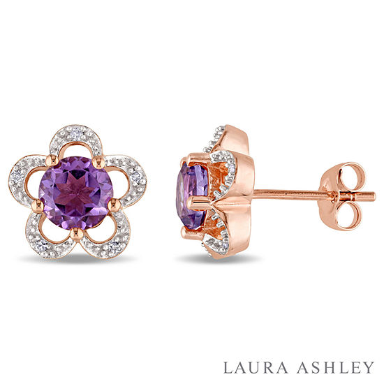 Laura Ashley Diamond Accent Genuine Purple Amethyst 10K Gold Over Silver 10.9mm Stud Earrings