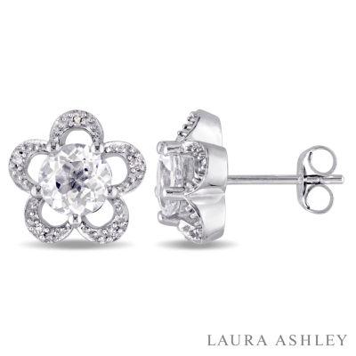Laura Ashley Diamond Accent Round White Topaz 10K Gold Stud Earrings