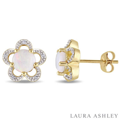 Laura Asley Diamond Accent Genuine White Opal 10K Gold 10.8mm Stud Earrings
