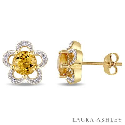 Laura Ashley Diamond Accent Round Yellow Citrine 10K Gold Stud Earrings