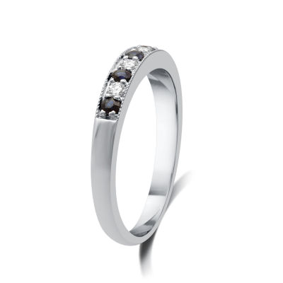 I Said Yes™ 1/8 CT. T.W. Certified Diamond & Blue Genuine and Lab Created Sapphire Milgrain Band