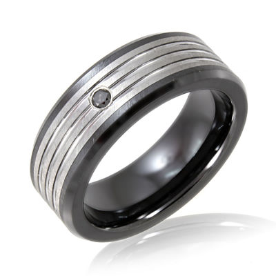 Men's Diamond-Accent Band Tungsten